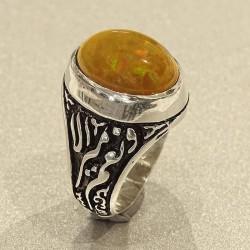 انگشتر نقره مردانه سنگ اوپال