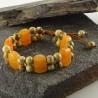 دستبندبافت سنگ جاسپرچوبی و آونتورین نارنجی