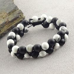 دستبند سنگ طبیعی عقیق سیاه مات و هولیت